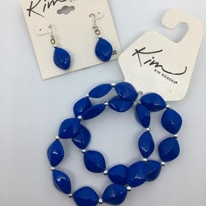 Lucite Blue Bracelet and Earrings